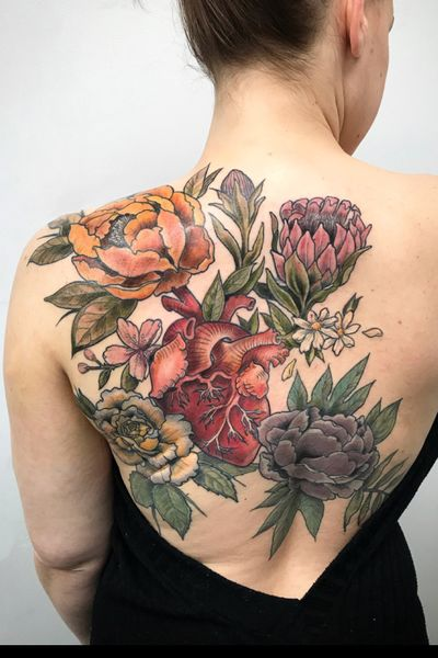 #floral #botanical #backpiece #colortattoo #heart #flowers #peonies #cherryblossom #rose #nyc #tattoo