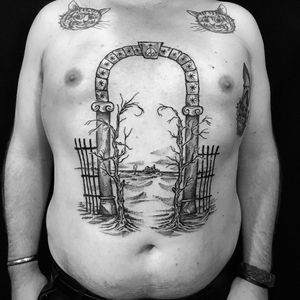 Tattoo by Servadio #Servadio #beautifultattoos #beautiful #gate #landscape #trees #deadtrees #blackwork #illustrative