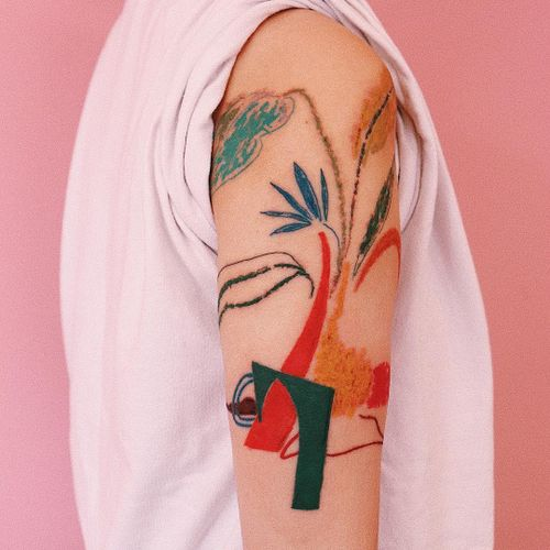 Tattoo by Gong Greem #GongGreem #beautifultattoos #beautiful #abstract #chagall #matisse #fineart #watercolor #linework #shapes #plants #leaves