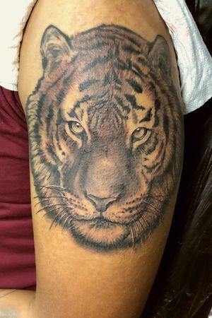 Black and grey tiger tattoo