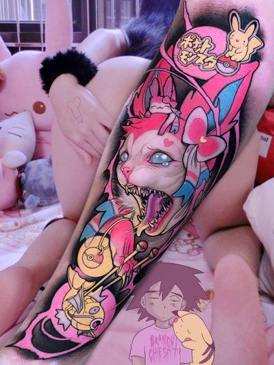 Tattoo by Brando Chiesa #BrandoChiesa #pastelgore #color #anime #manga #Japanese #illustrative #cat #butnny #pokemon #goldfish #pikachu