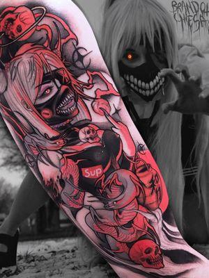 Tattoo by Brando Chiesa #BrandoChiesa #pastelgore #color #anime #manga #Japanese #illustrative #demon #eel #snake #babe #pinup #babe