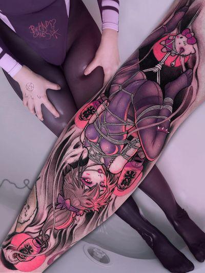 Tattoo by Brando Chiesa #BrandoChiesa #pastelgore #color #anime #manga #Japanese #illustrative #shibari #rope #lantern