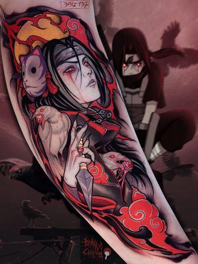 Tattoo by Brando Chiesa #BrandoChiesa #pastelgore #color #anime #manga #Japanese #illustrative #raven #mask