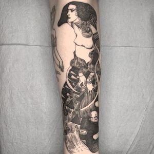 Tattoo by Vanpira #Vanpira #illustrativetattoos #illustative #klimt #lady #pattern #artnouveau #Judith