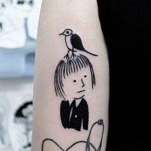 Tattoo by Woozy #Woozy #illustrativetattoos #illustative #blackwork #face #portrait #bird