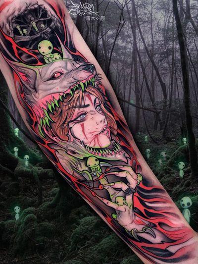 Tattoo by Brando Chiesa #BrandoChiesa #pastelgore #color #anime #manga #Japanese #illustrative #kodama #princessmononoke #wolf #forest #studioghibli