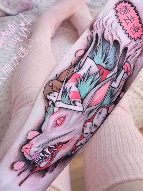Tattoo by Brando Chiesa #BrandoChiesa #pastelgore #color #anime #manga #Japanese #illustrative #Haku #Chihiro #SpiritedAway NoFace #cherryblossoms #magic #Studioghibli