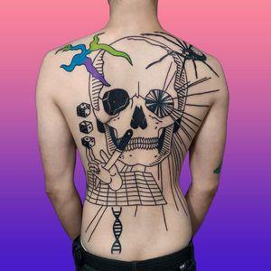 Tattoo by Dase Tattoo #DaseTattoo #Dase #illustrativetattoos #illustative #blackwork #dice #skull #hand #sword #spider #linework