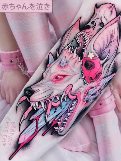 Tattoo by Brando Chiesa #BrandoChiesa #pastelgore #color #anime #manga #Japanese #illustrative #wolf #crystal #skull #star #demon