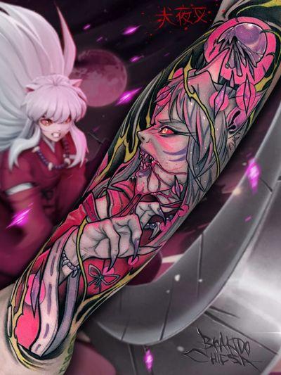 Tattoo by Brando Chiesa #BrandoChiesa #pastelgore #color #anime #manga #Japanese #illustrative #Inuyasha #demon #crystals