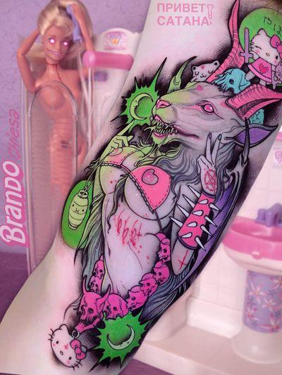 Tattoo by Brando Chiesa #BrandoChiesa #pastelgore #color #anime #manga #Japanese #illustrative #baphomet #babe #satan #pentagram #hellokitty #lantern #moon #skull