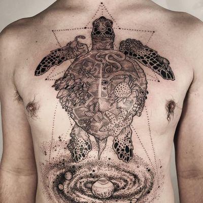 Tattoo by Pony Reinhardt #PonyReinhardt #illustrativetattoos #illustative #blackwork #linework #dotwork #turtle #crab #starfish #barnacle #galaxy #sacredgeometry #shell #coral