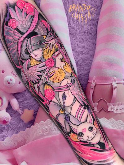 Tattoo by Brando Chiesa #BrandoChiesa #pastelgore #color #anime #manga #Japanese #illustrative #cat #babe #pinup #wings #feathers #lady #legend #myth