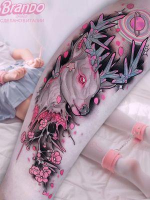 Tattoo by Brando Chiesa #BrandoChiesa #pastelgore #color #anime #manga #Japanese #illustrative #deer #cherryblossoms #crystals #hearts #stars