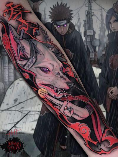 Tattoo by Brando Chiesa #BrandoChiesa #pastelgore #color #anime #manga #Japanese #illustrative #spirit #magic #wolf #scifi