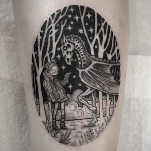 Tattoo by Suflanda #Suflanda #illustrativetattoos #illustative #harrypotter #lunalovegood #animal #trees #blackwork #linework #dotwork #stars #magic #fantasy #girl #portrait