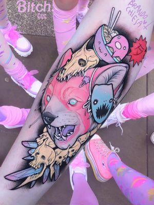 Tattoo by Brando Chiesa #BrandoChiesa #pastelgore #color #anime #manga #Japanese #illustrative #redpanda #skull #crystal #mask #ramen