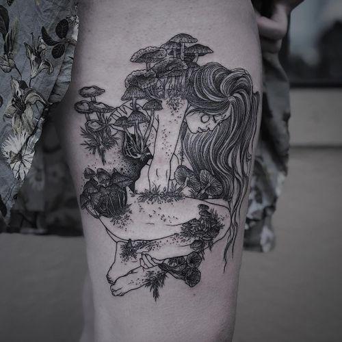 Tattoo by Ruby Wolfe #RubyWolfe #illustrativetattoos #illustative #portrait #lady #mushrooms plants #nature #surreal