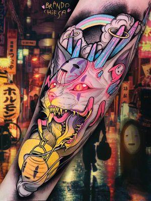 Tattoo by Brando Chiesa #BrandoChiesa #pastelgore #color #anime #manga #Japanese #illustrative #cat #noface #crystals #lantern #monster #studioghibli