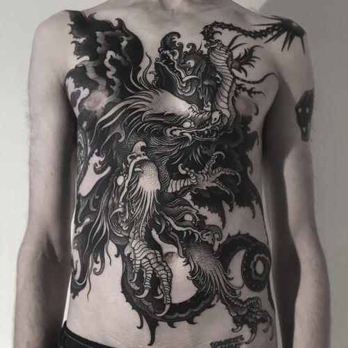Tattoo by Alexander Grim #AlexanderGrim #illustrativetattoos #illustative #blackwork #dragon #mythicalcreature #fantasy #darkart