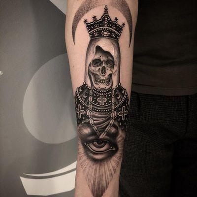 Tattoo by Zac Scheinbaum #ZacScheinbaum #illustrativetattoos #illustative #skull #skeleton #death #eye #illuminati #catholic #moon
