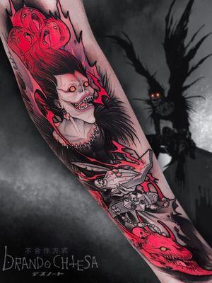 Tattoo by Brando Chiesa #BrandoChiesa #color #anime #manga #Japanese #illustrative #vampire #demon #skull #death