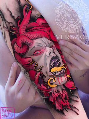 Tattoo by Brando Chiesa #BrandoChiesa #pastelgore #color #anime #manga #Japanese #illustrative #medusa #legend #Myth #portrait #ladyhead #snake #serpents