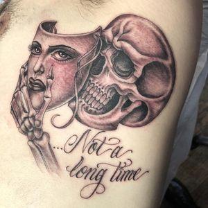 Tattoo by Tamara Santibanez #TamaraSantibanez #illustrativetattoos #illustative #mask #portrait #lady #ladyhead #script #skeleton #skull #death #Chicano