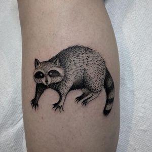 Tattoo by Justin Olivier #JustinOlivier #illustrativetattoos #illustative #linework #raccoon #animal #cute #blackwork