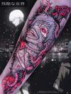 Tattoo by Brando Chiesa #BrandoChiesa #pastelgore #color #anime #manga #Japanese #illustrative #centipede #demon #skull