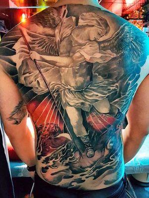 #angel #saintmichael #tattooart #fullback #Singapore #freehandart #arte