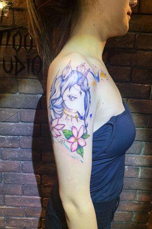 Unicorn Design #unicorn #flower #watercolor #brushstroke #color #pretty #beautiful #girl