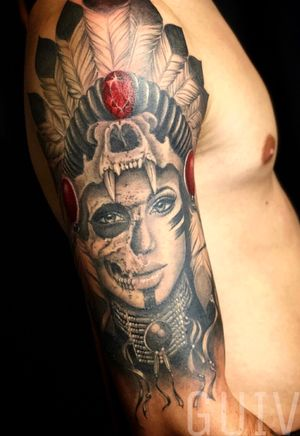 Guivy Tattoo - ART FOR SINNERS - Geneva 🇨🇭 #nativeamerican #girl #sleeve #realism
