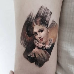 Tattoo by Ziho #Ziho #favoritetattoos #favorite #painting #color #portrait #ladyhead #lady #paint