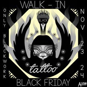 ⬛️⬛️Black Friday Walk-In⬛️⬛️ 23-24 novembre (dalle 10:00 alle 19:00) Vi aspettiamo con tantissimi flash (solo blackwork) tra cui quelli creati per l'occasione dalla BlackPrincess @a.lessandrasimoni 🖤 ⚫️ Per info contattateci in privato ⚫️