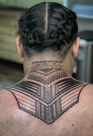 Samoan Neck Shot #samoan #samoantattoo #polynesian #polynesiantattoo For appointments text 3109010862