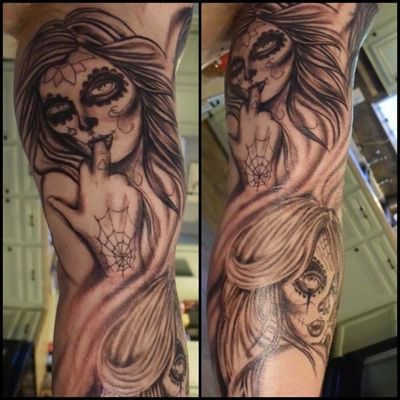 Day of the dead sleeve I'm working on. #blackandgrey #dayofthedead #dayofthedeadtattoo #dayofthedeadgirl #dayofthedeadsleeve #sugarskull #sugarskulltattoo #tattoo #tattooartist #sleeve #ink #inked #forearmtattoo #houstontattooartist #conroetattooartist #houston #conroe #ericsquires #ericsquirestattoos #sugarskulls