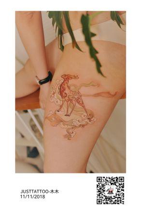 Tattoo by Momo tattooist. Wechat:Justtattoo02 Guangzhou Tattoo - #Justtattoo #GuangzhouTattoo #OriginalTattoo #TattooManuscript #TattooDesign #TattooFemaleTattooist #deer #deertattoo #chinesestyle #chinesestyletattoo #myth #mythtattoo #ninecolordeer #elk #elktattoo #fairy #fairytattoo