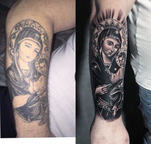 Before and after (refresh of old tattoo). Done at: MG tattoo studio - Skopje - Macedonia