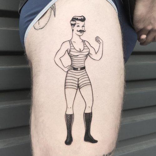 Tattoo by James Lauder #JamesLauder #MrLauder #illustrative #popart #strongman #vintage