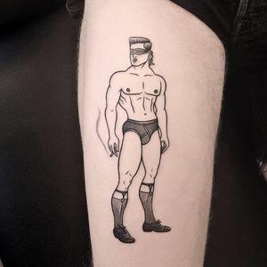 Tattoo by James Lauder #JamesLauder #MrLauder #illustrative #popart #blackandgrey #beefcake #style #babe #blindfold #cigarette #smoke #sexy