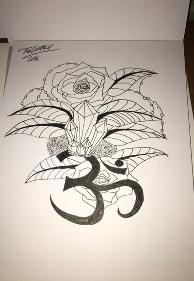 Really missed drawing! #ohm #om #leaf #leaves #rose #roses #crystal #crystals #string #ohmtattoo #leaftattoo #dotwork #dotworktattoo #drawing #sketch #outline #shading