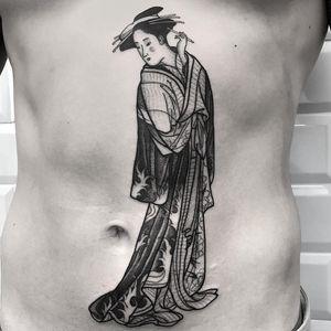 Tattoo by Luca Cospito #LucaCospito #geishatattoos #geisha #Japanese #kimono #illustrative #linework #blackandgrey #flower #waves