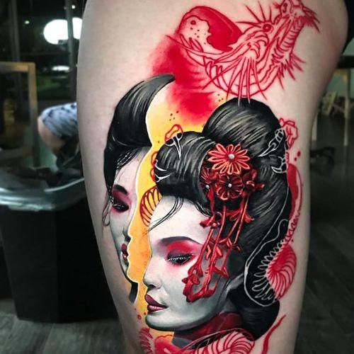 Tattoo collab by Ben Ochoa and DB Kaye #BenKaye #DBKaye #geishatattoos #geisha #Japanese #realism #portrait #flowers #dragon #surreal