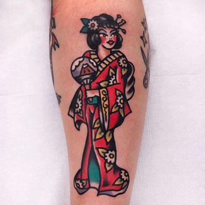 Tattoo by Needles Tattooing #NeedlesTattooing #geishatattoos #geisha #Japanese #color #traditional #flower #fan #mtfuji