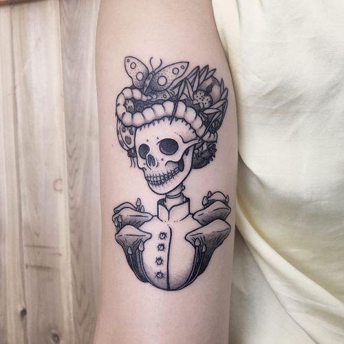 Tattoo by James Lauder #JamesLauder #MrLauder #illustrative #popart #butterfly #insects #mushrooms #lady #ladyhead #portrait #skull #skeleton #death