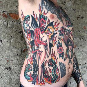 Tattoo by Bert Krak #BertKrak #satantattoos #satan #devil #demon #hell #death #lady #pinup #fire #traditional #color