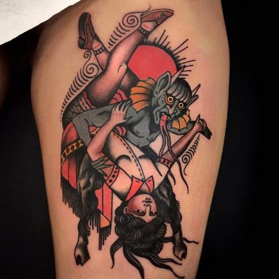 Tattoo by Pablo Lillo #PabloLillo #satantattoos #satan #devil #demon #hell #death #lady #surreal #goat #weird #traditional #color