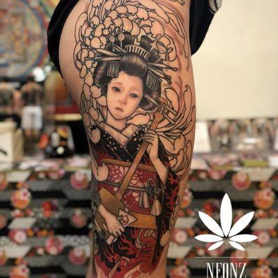 Tattoo by Neon Drug #NeonDrug #geishatattoos #geisha #Japanese #color #illustrative #chrysanthemum #flower #floral #shamisen